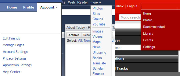 Drop down menus from Facebook, Gmail, and Last.fm