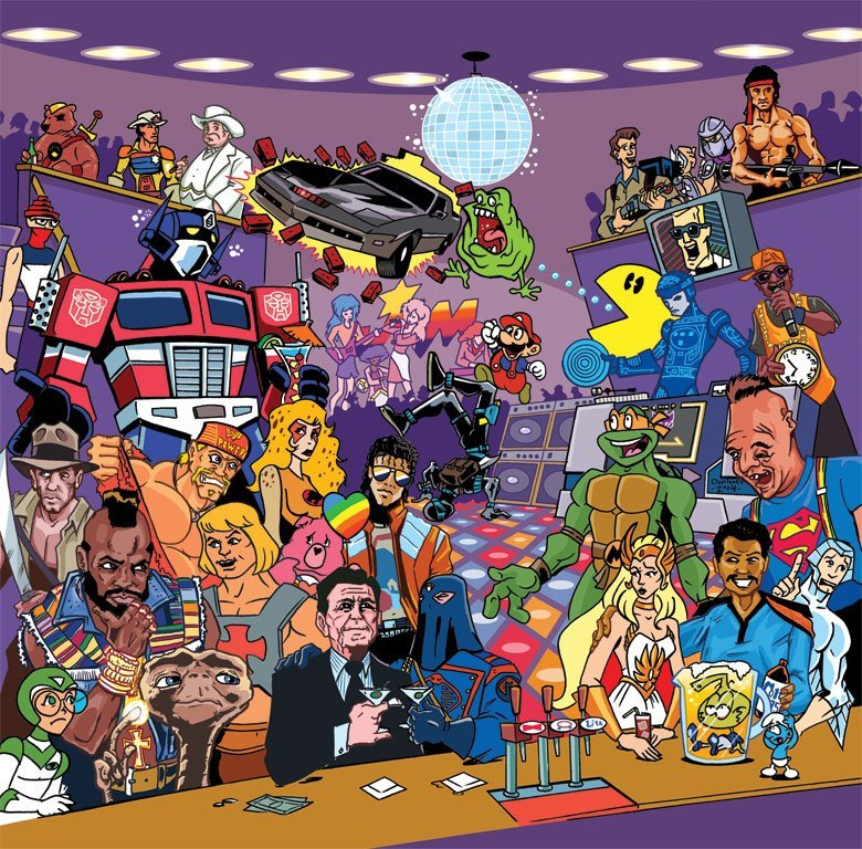 80s characters in cartoon form