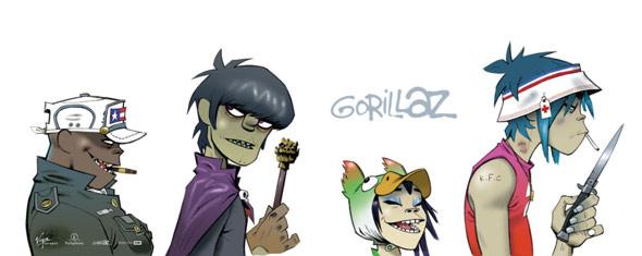 gorillaz on white