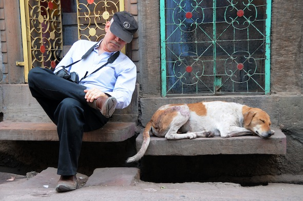 sleeping man with sleeping dog