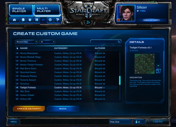 battlenet custom game menu