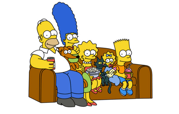 The Simpsons on the couch