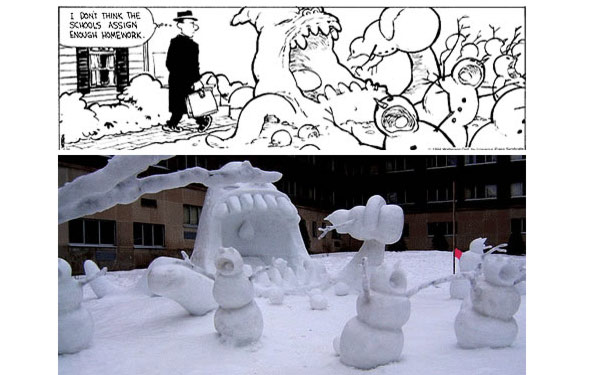 Calvin and Hobbes snowmen made into a miniature montage