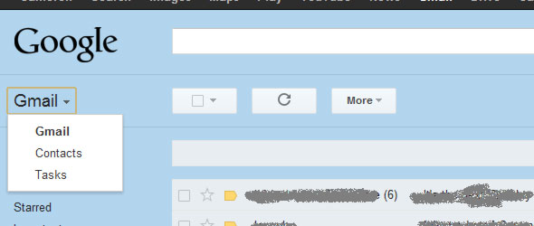 gmail contacts in drop down