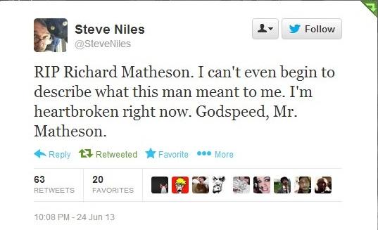 Steve Niles Tweet