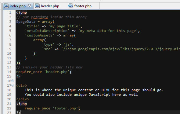 php code sample in aptana studio