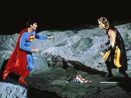 Superman fighting on a film set... sorry... the moon